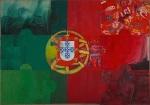 Bandeira Nacional, Grupo Puzzle, 1976 (Obra composta por nove peças em formato de puzzle) Técnica mista sobre tela; 207 x 296 cm; Colecção CAMJAP